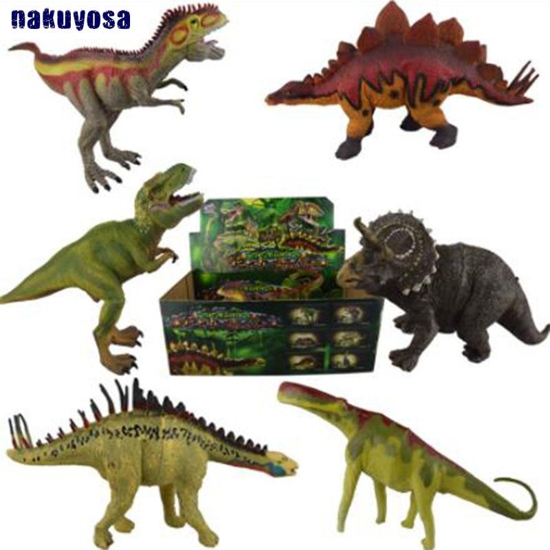 6 pcs set Jurassic World Solid Simulation Dinosaur Model Toys Tyrannosaurus Stegosaurus Triceratops Kids Gifts simulation brand papo stegosaurus dinosaur model resin children action