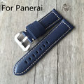 24mm Blue Italian Vintage Genuine Leather Watchband Watch Strap For PAM111 PAM688/Panerai With Buckle Clasp With Logo