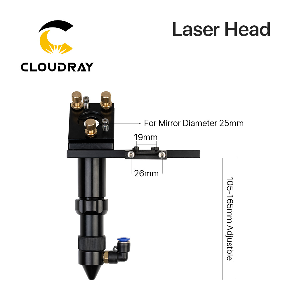 C Series: Cloudray CO2 Laser Head For Focus Lens Dia.20 FL.50.8 / 63.5mm & Mirror 25mm Mount For Laser Engraving Cutting Machine