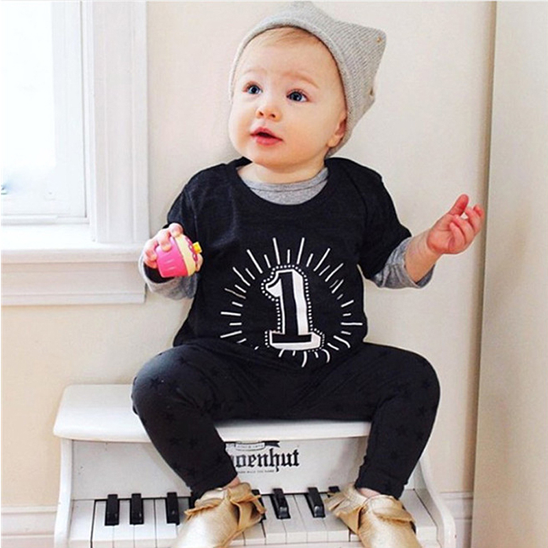 T-Shirt Baby-Boys Tees Short-Sleeve Girls Tops Children Black Summer for Kids 1-2-3/4years
