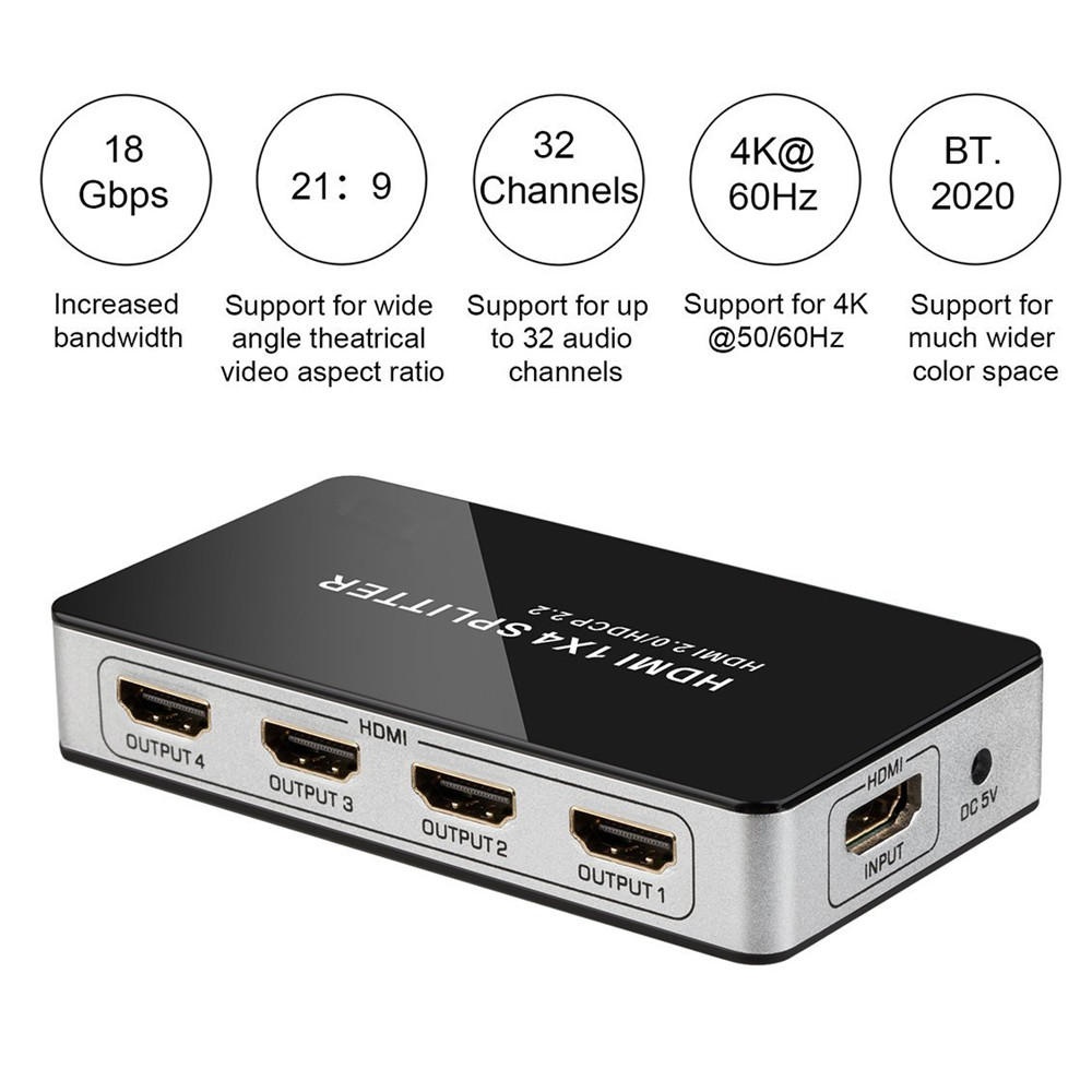 4 K HD 4 Port HDMI Splitter 1x4 HUB Switch Box Soutien HDMI 2.0 HDCP 2.2 1 Entrée 4 Sortie HDMI Split Connecteur Pour HDTV projecteur
