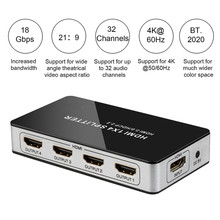 4K Hd 4 Port Hdmi Splitter 1X4 Hub Switch Box Ondersteuning Hdmi 2.0 Hdcp 2.2 1 Ingang 4 Output Hdmi Split Connector Voor Hdtv Projector