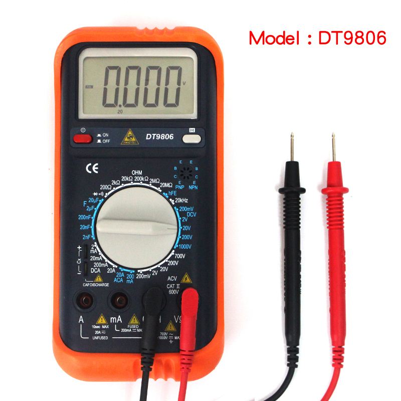 DT9806 Digital Multimeter Meter Current AC DC Voltage Resistance Capacitance Frequency Tester Detection free shipping uxcell digital multimeter ac voltage current resistance capacitance frequency temperature tester meter 600mv 6v 60v 600v 1000v