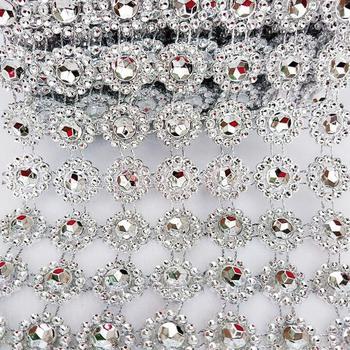 2 stoczni 15mm łańcuszek z kryształów górskich szyć na kleju odzież obszywka do szycia DIY akcesoria kosmetyczne perły kryształowe łańcuchy dekorowanie tortu weselnego tanie i dobre opinie Motyw dżetów Naszywane Kwiat 17-NF056 flatback Torby Buty Odzieży