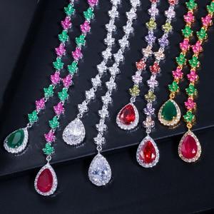 Image 5 - CWWZircons エレガントな多色キュービックジルコニア石ロング女性ネックレスとイヤリングセット T226
