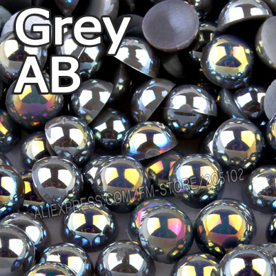 Grey AB Half Round beads Mix Sizes 2mm 3mm 4mm 5mm 6mm 8mm 12mm imitation ABS Flat back Pearl for DIY Nail Art jewelry Accessory