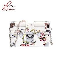 Elegant Fashion Flower Pattern Box Style ladies Parties Clutch Bag Chain Purse Shoulder Bag Mini Messenger Bag For Women Bolsa