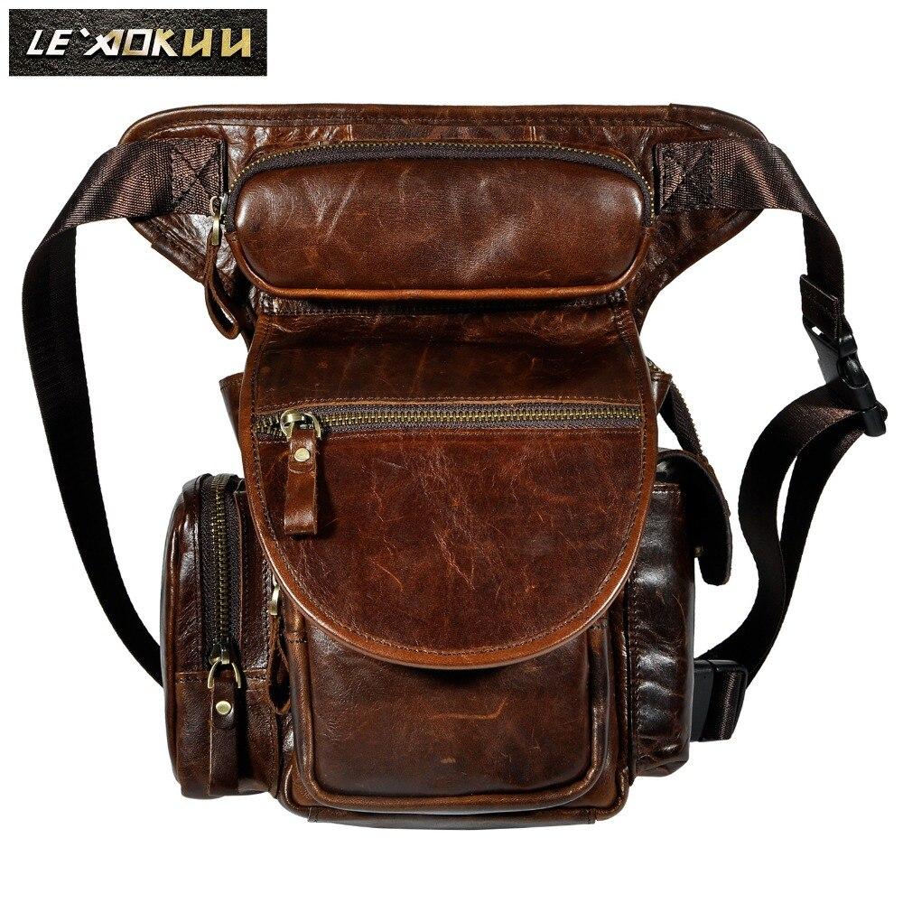 Prawdziwej skóry mężczyźni projekt dorywczo torba torba ze sznurkiem wielofunkcyjny moda podróżnik Heavy Duty pas biodrowy pakiet saszetka na nogę mężczyzna 3109c w Saszetki od Bagaże i torby na  Grupa 1