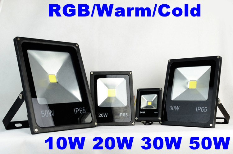 4pcs/lot AC85-265V Outdoor Led Floodlight RGB 10W 20W 30W 50W Waterproof Led Square Light Tunnel Light Spotlight ...