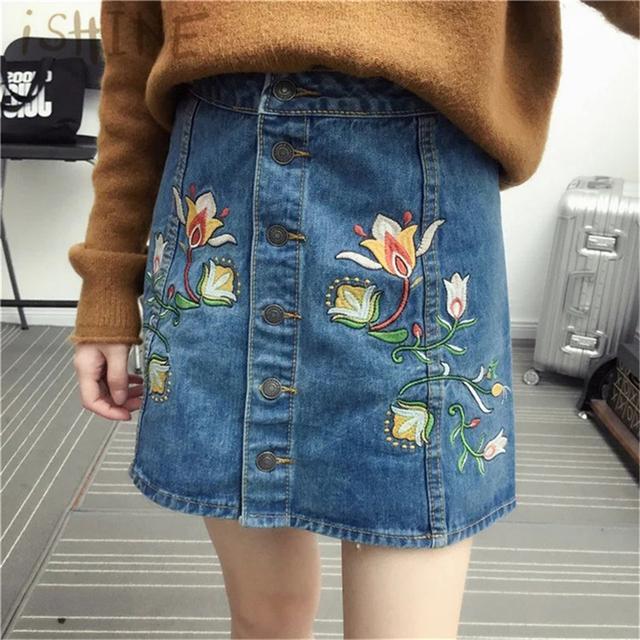 ISHINE 2017 Estilo Moda Verão Short Jeans Saia de Cintura Alta Mulheres Flores Bordado Faldas Midi Saias Jeans