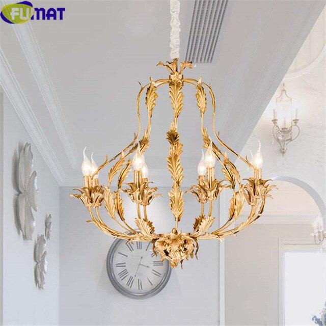 US $738.15 5% OFF|FUMAT Kupfer Blatt Kronleuchter Amerikanischen Luxus  Leuchten Nordic Designer Art Deco Lampe Wohnzimmer Esszimmer Beleuchtung in  ...