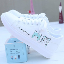 LASPERAL Printed Casual Shoes Women Pu Shoes Cute Cat 2019 New Arrival Fashion Lace-up Women Sneakers Women Casual Shoes