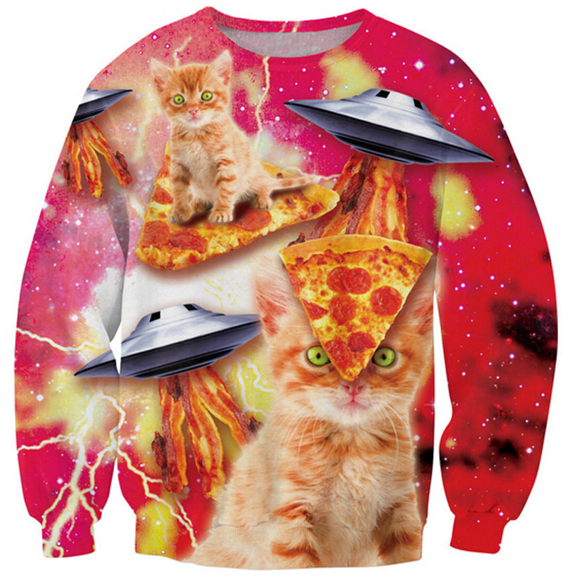 Funny Hip Hop pullover Cartoon hoodies men/women print Bacon Pizza Space Cat 3d sweatshirt crewneck casual sweats S-5XL R1738