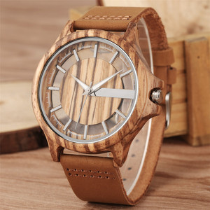 Image 2 - Transparent Hollow Dial Coffee/Brown/Black Wood Watches Quartz Timepiece Genuine Leather Watchband Creative Mens Watch New 2019