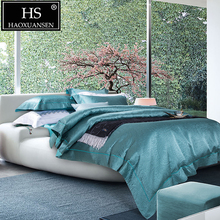 HS 120S Sky Blue Paisley Pattern Jacquard 4pcs Bedding Sets Pure Color Bed Linens Thickened King Size Duvet Cover Sheet Set