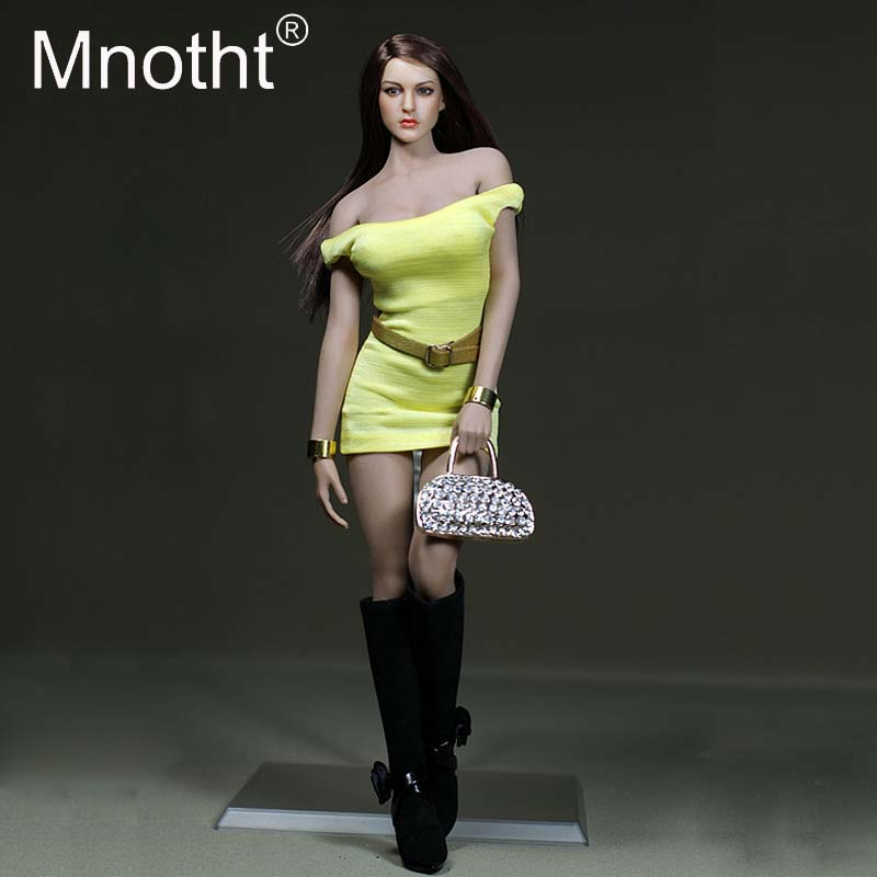 1/6 Scale Yellow Mini Skirt Female Solider Sexy Clothes Model For 12inch Phicen Medium/Large Breast Body Model Action Figure Toy