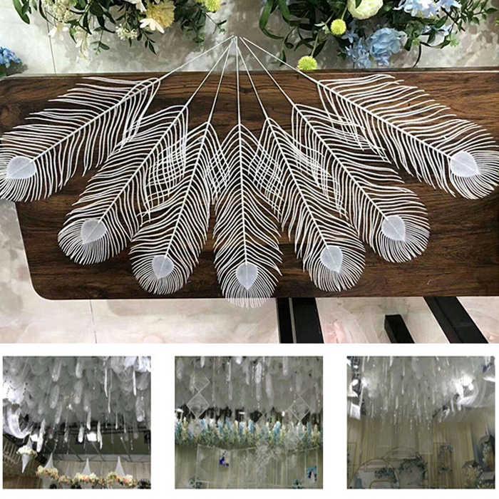 Plástico branco penas de pavão para o transporte da gota de teto pendurado garland Bandeira Pennant Bunting decoração DIY festa de casamento/aniversário favor Wh