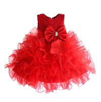 Amazing TUTU Style Girl Wedding Dress Pearls With Super Big Bow Kids Party Dresses For Girls