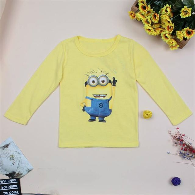 97b8ff9c23462 US $3.33 52% OFF|New 2018 Cotton boys t shirt cartoon little yellow child  short t shirts kids baby children t shirts, child long sleeve clothes-in ...