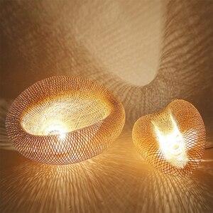 Image 3 - במבוק LED E27 נצרים קש גל צל תליון אור בציר יפני מנורת השעיה בית מקורה אוכל שולחן חדר תאורה