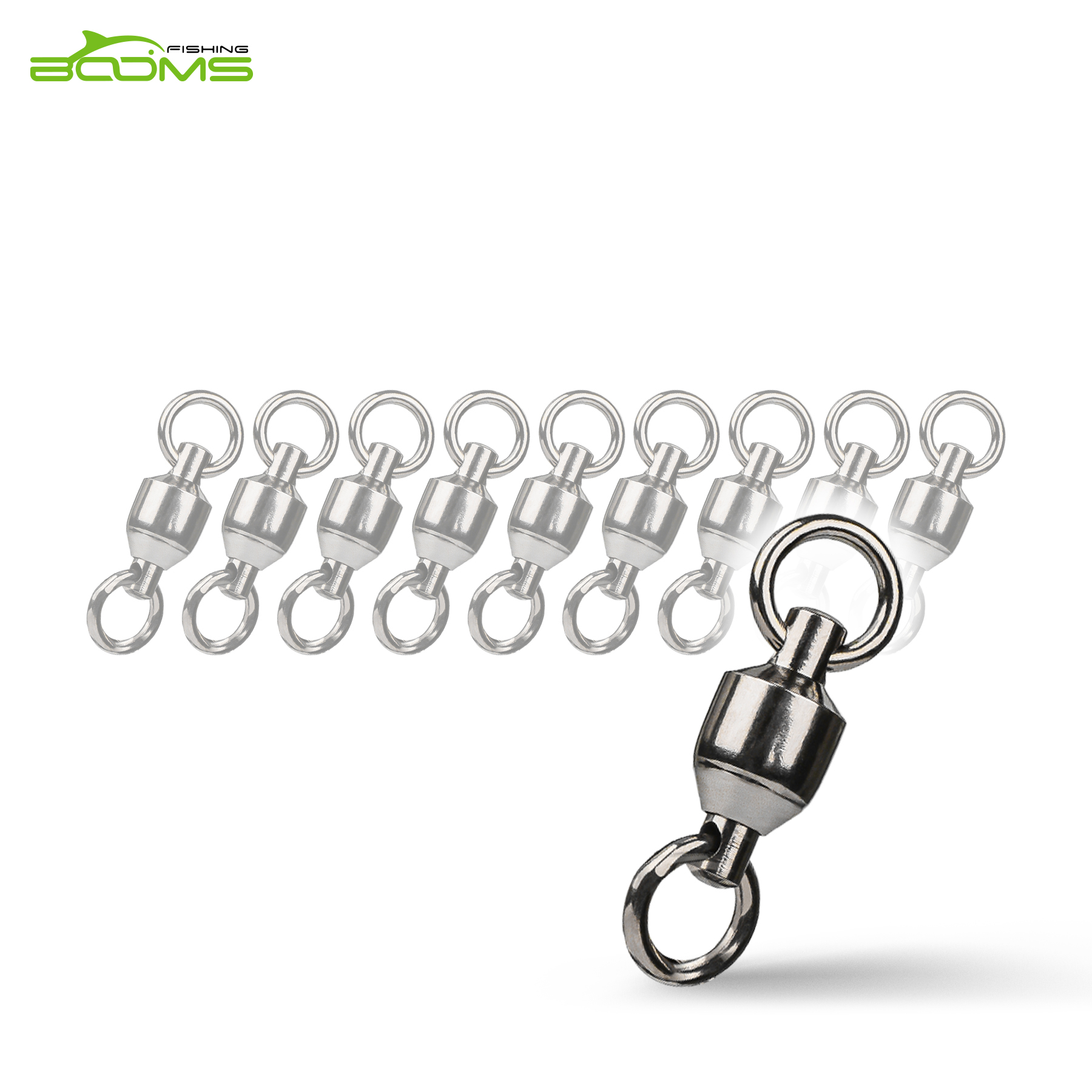 Booms Fishing BB2 Ball Bearing Fishing Rolling Swivel With Double Welded Rings Copper Alloy Connector 10/20Pcs ...