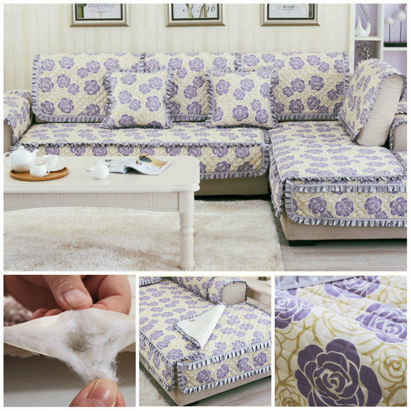European Home Textile Plaid Sofa Cover Quilted Sectional Slipcover ...