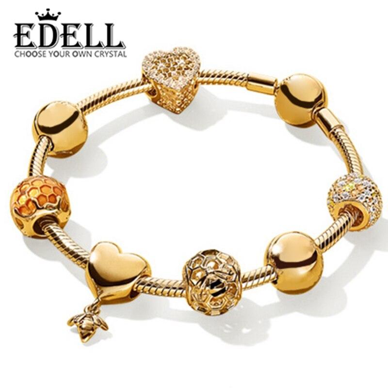 EDELL 100% 925 Sterling Silver Brand New Bracelet Set 18K Gold Color Love Honey Honeycomb Bracelet Set Fit DIY Sweet Gift sweet solid color forbidden love shape bracelet for women