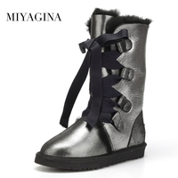 High Quality Genuine Sheepskin Leather Snow Boots Natural Fur Waterproof Women High Boots Warm Wool Winter