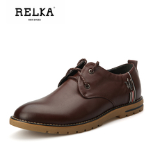 Купить с кэшбэком RELKA Luxury Men Shoes High Quality Cow Leather Handmade Round Toe Comfortable Heels Shoes Solid Lace-up Vintage Men Shoes N6