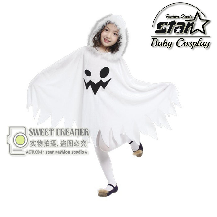 Halloween Cloak Children Girls Cosplay Costume Ghost Clothes White Cloak With Hood Role Play Dress Christmas Perform Prop Wear