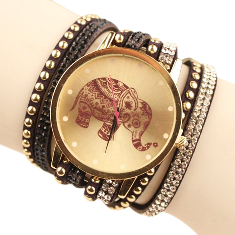Sale 2016 Popular Elephant Pattern Jewelry Quartz Watch Women Dress Watches Relogio Feminino Fashion Rhinestone Bracelet Watch