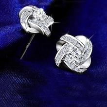 Fine 925 Sterling Silver Rhinstone Crystal Wedding Stud Earrings