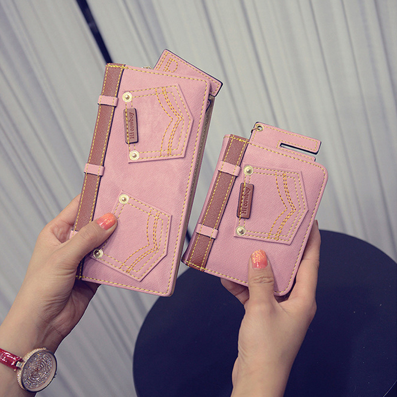 YOUYOU MOUSE Fashion Hot Sale Women Wallet 2 Fold Denim Material Zipper Long Wallet Creative Cute Cowboy Pattern Female Wallet youyou mouse korean style women wallet pu leather 2 fold phone package wallet multi function lovely big eyes pattern wallet