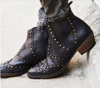 Designer shoes woman sapatos femininos balck nubuck leather studded short ankle boots combat cowboy boots riding medium heel