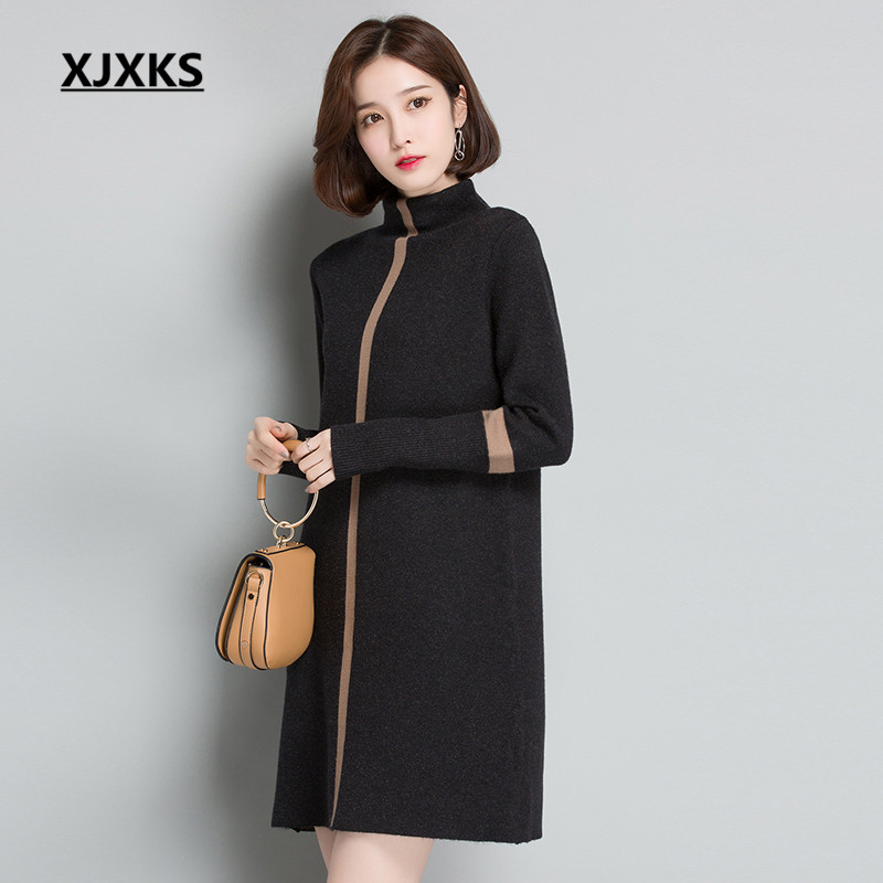 XJXKS 2018 autumn and winter high end warm cashmere sweater loose large size fashion pullover Turtleneck