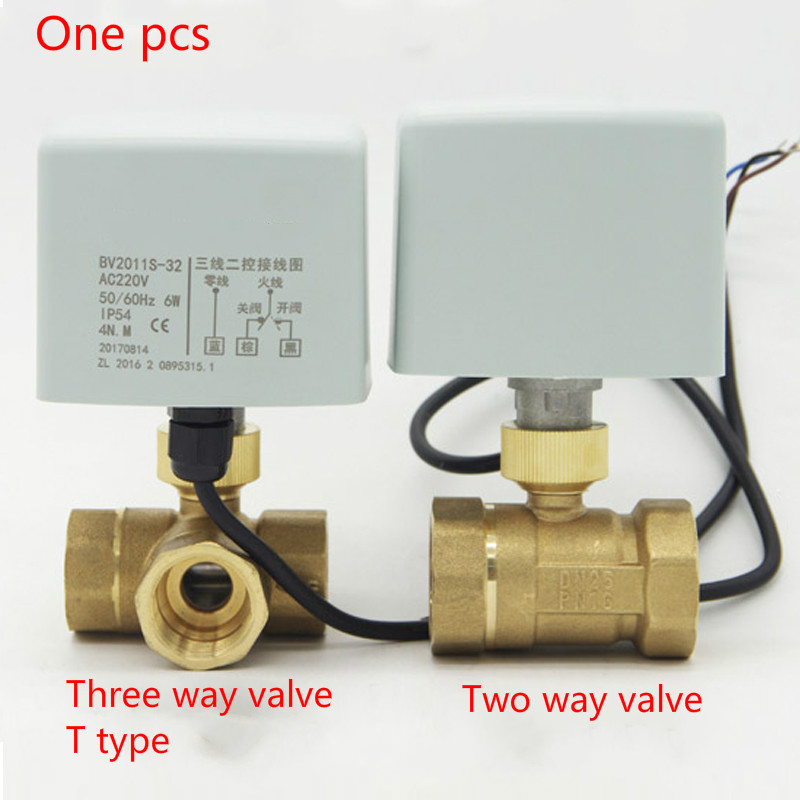 Brass 3 Way 2 Way 220V Motorized Ball Valve T Type Electrical Valve DN15 DN50