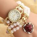 2016 Hot Sell pearl watches Female models fashion decorative heart-wound diamond bracelet watch students fashion quartz-watch