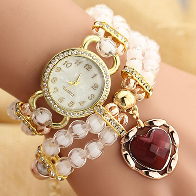 2017 Hot Sell Pearl Watches Female Models Fashion Decorative Heart-wound Diamond Bracelet Watch Students Fashion Quartz-watch aidocrystal heart shape factory direct sell fashion woman diamond clutch for lady