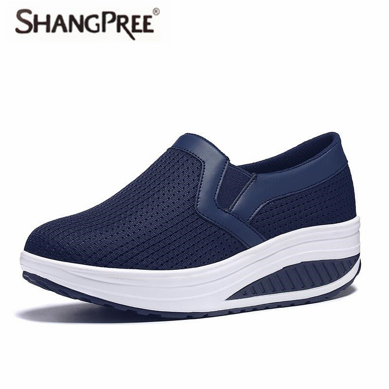 SHANGPREE Women Spring Autumn Casual Shoes New Comfortable Breathable Mesh Platform Women Shoes Shook His Shoes Air Shoes Woman women s shoes 2017 summer new fashion footwear women s air network flat shoes breathable comfortable casual shoes jdt103