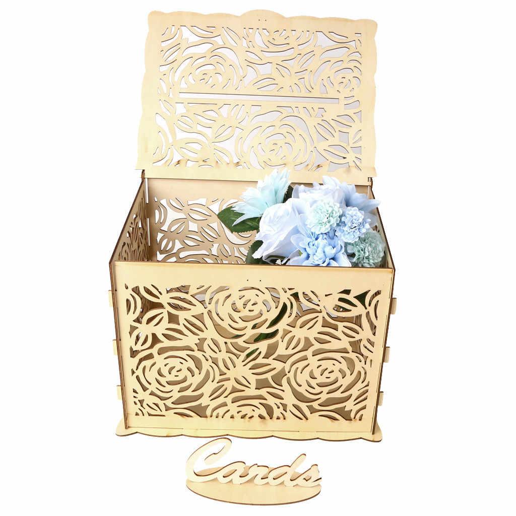 Diy Wedding Gift Card Box Wooden Box Wedding Decoration Supplies For Birthday Party Storage Money Case