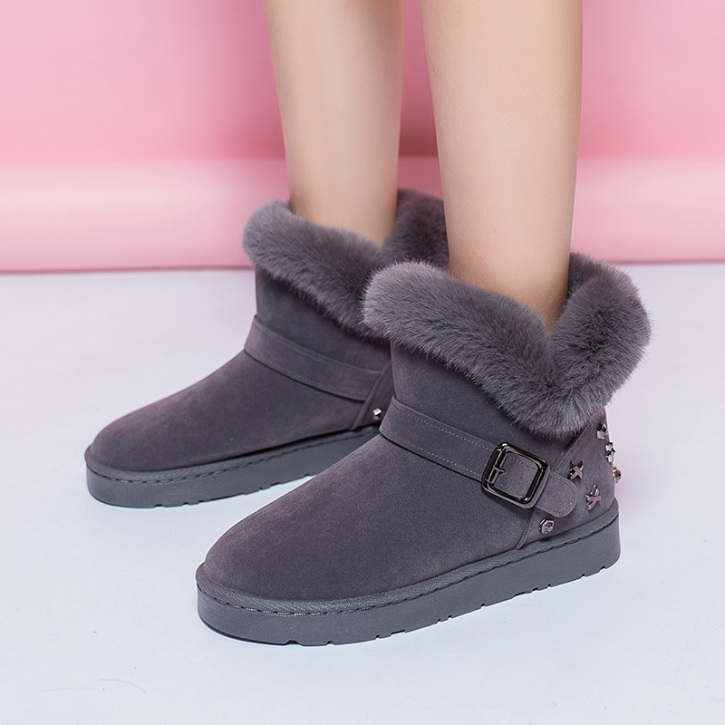 Double 11 Classic Women Winter Boots Suede Ankle Snow Boots Female Warm Fur Plush Insole High Quality Botas MujerSize36-40 цена