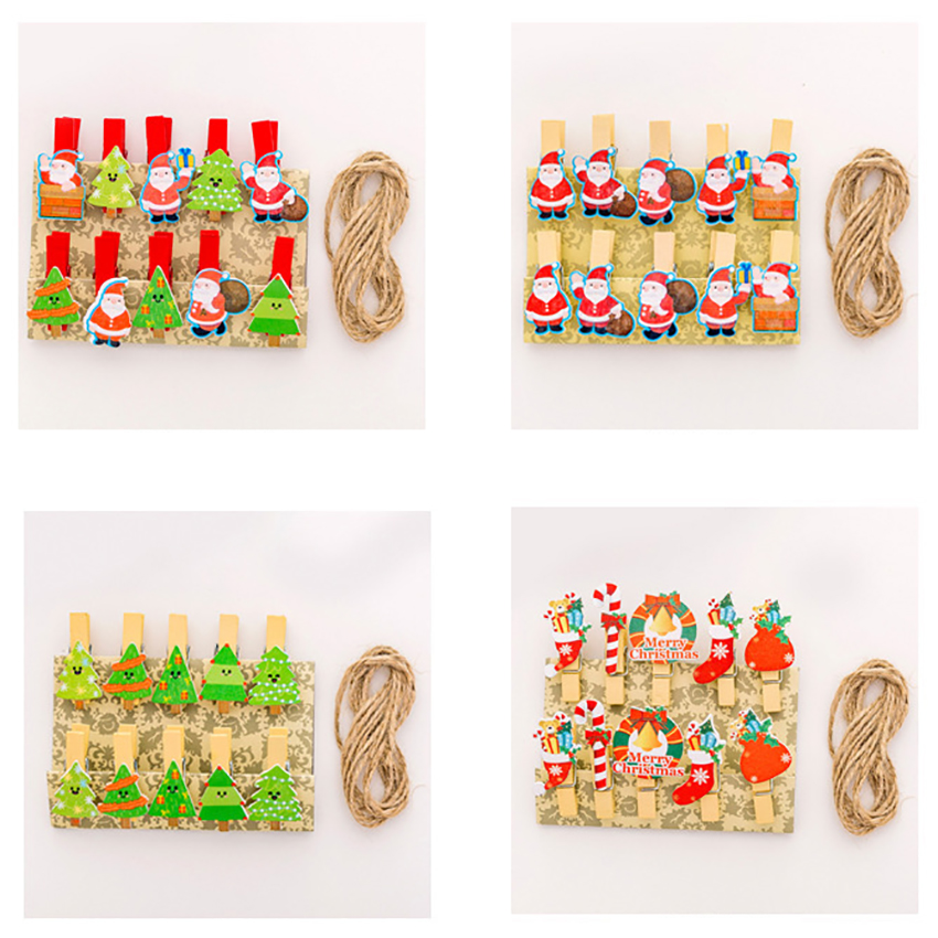10PCS/ Set Christmas Tree Santa Snowman Wooden Clothespins With Jute Twine Photo Paper Craft Clips Arts Crafts Decorative Clips