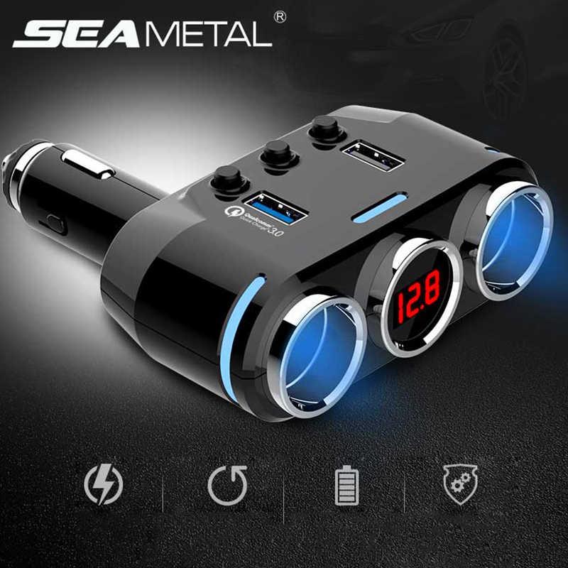 Car Cigarette Lighter Quick Charging 3.0 USB Fast Splitter 12V Plug Socket Digital LED Dual Adapter Electric Voltage Universal