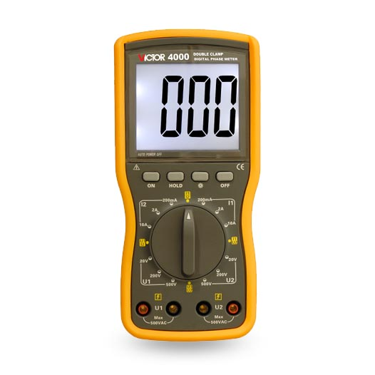 VICTOR 4000 Digital Double Clamp Phase Meter voltammeter digital voltmeter ammeter victor 6050 digital clamp meter
