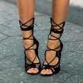 Venda quente Do Dedo Do Pé Aberto Sandálias Saltos De Grife Mulheres Botas Gladiator Sandals com Tira No Tornozelo Rendas Até Sapatos de Verão Mulher Sapatos Femininos
