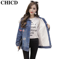 Chicd 2017 winter mode vrouwen denim jas pluche lining dames patch ontwerpen casual jas dikke fleece jeans jacket xc247