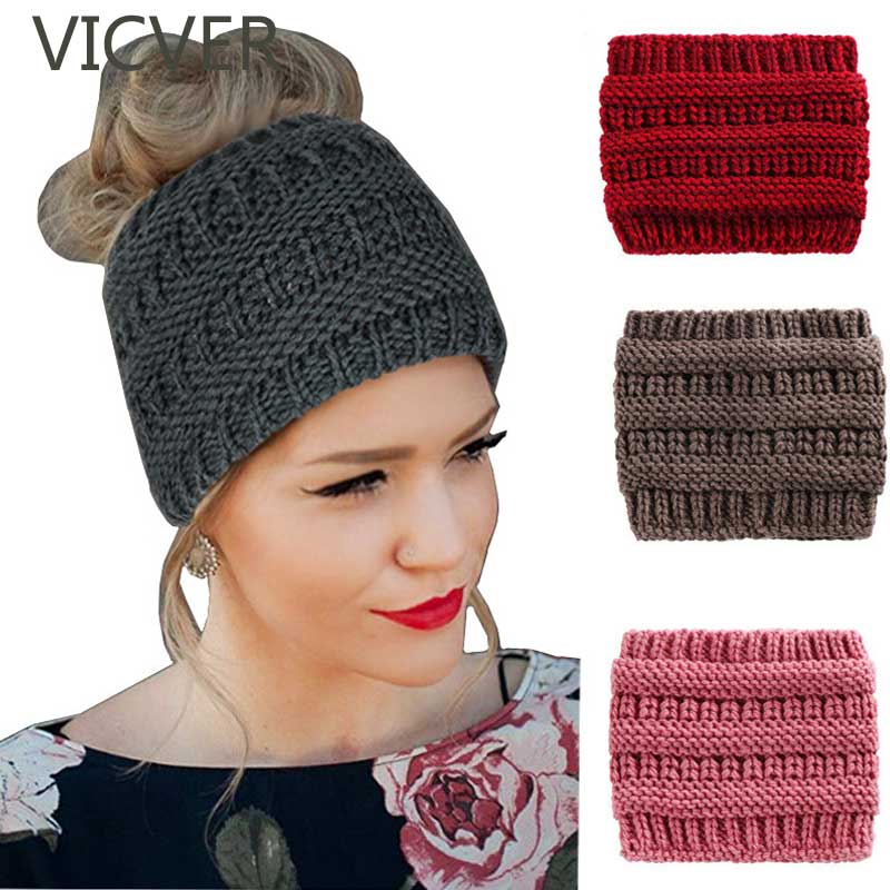 Ponytail Beanie Woolen Cap Women Soft Knit Turban Hats For Ladies Headwrap Crochet Hat Skullies Beanies Casual Winter Warm Caps