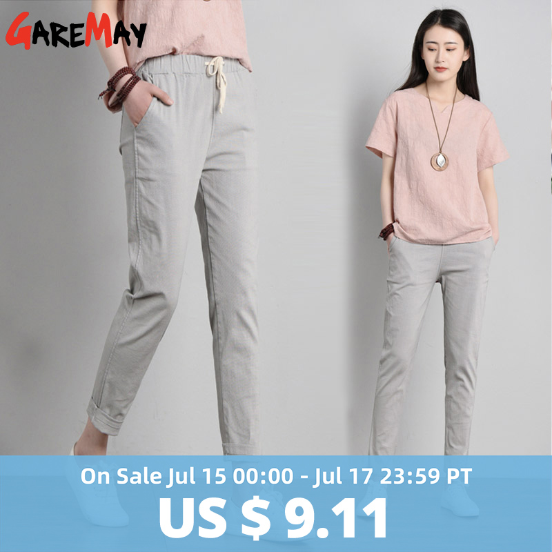 Garemay Cotton Linen Pants for Women Trousers Loose Casual Solid Color Women Harem Pants Plus Size Capri Women's Summer(China)