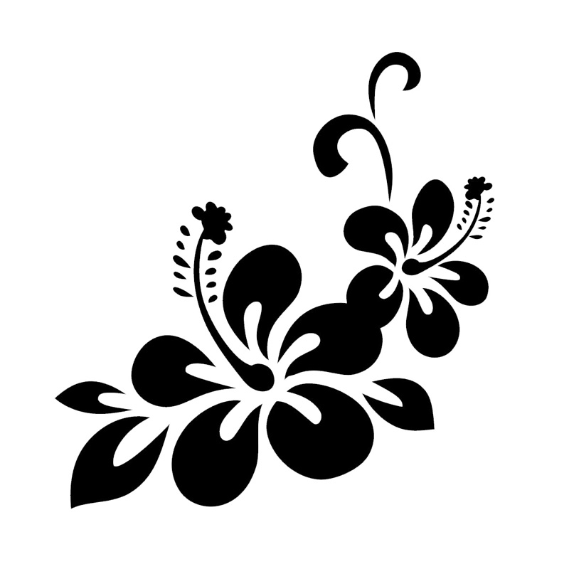 23 8 24 9cm beautiful hawaiian hibiscus car sticker