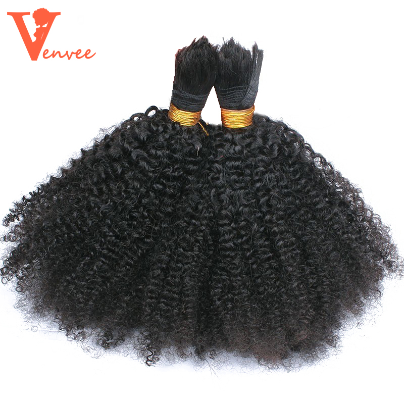 4B4C Mongolian Afro Kinky Curly Bulk 3 Pcs Human Hair For Braiding No Attachment Braiding Hair Bulk Bundle No Weft Remy Venvee